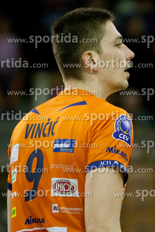 VINCIC Dejan of ACH during volleyball match between ACH Volley (SLO) and Asseco Resovia Rzeszow (POL) at 2nd Leg of Semifinals of CEV Men Volleyball Cup 2011/2012, on March 17, 2012 in Arena Tivoli, Ljubljana, Slovenia.  (Photo By Urban Urbanc / Sportida.com)