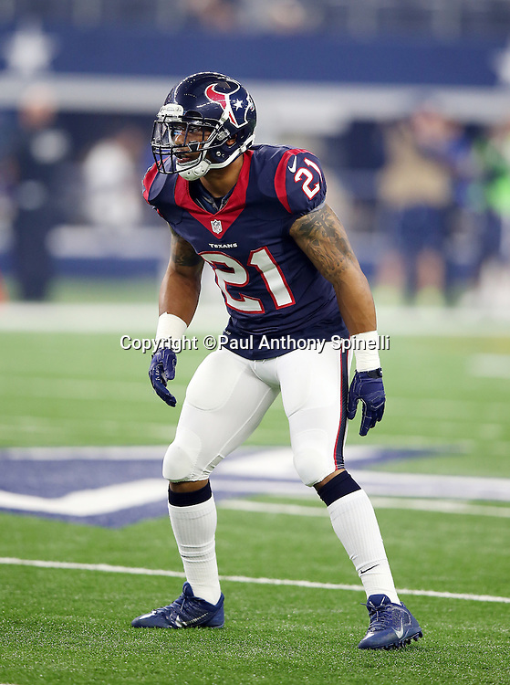 Houston Texans defensive back Darryl Morris (21) makes a move during the 2015 NFL preseason football game against the Dallas Cowboys on Thursday, Sept. 3, 2015 in Arlington, Texas. The Cowboys won the game 21-14. (©Paul Anthony Spinelli)