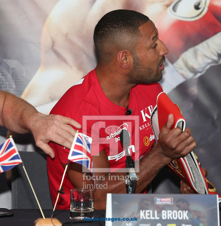 Kell Brook gets animated at the press conference, in anticipation of the Brook v Spence contest, at Bramall Lane, Sheffield<br /> Picture by James Wilson/Focus Images Ltd 07709 548263<br /> 22/03/2017