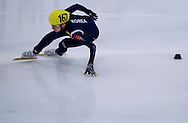 Park Se Yeong of South Korea competes in the 3000 meters Relay Men on day two of the 2013 ISU Short Track Speed Skating Junior World Championships at Torwar Ice Hall on February 23, 2013 in Warsaw, Poland...Poland, Warsaw, February 23, 2013...Picture also available in RAW (NEF) or TIFF format on special request...For editorial use only. Any commercial or promotional use requires permission...Photo by © Adam Nurkiewicz / Mediasport