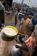 Worker load ice at Mangalore fish market, India