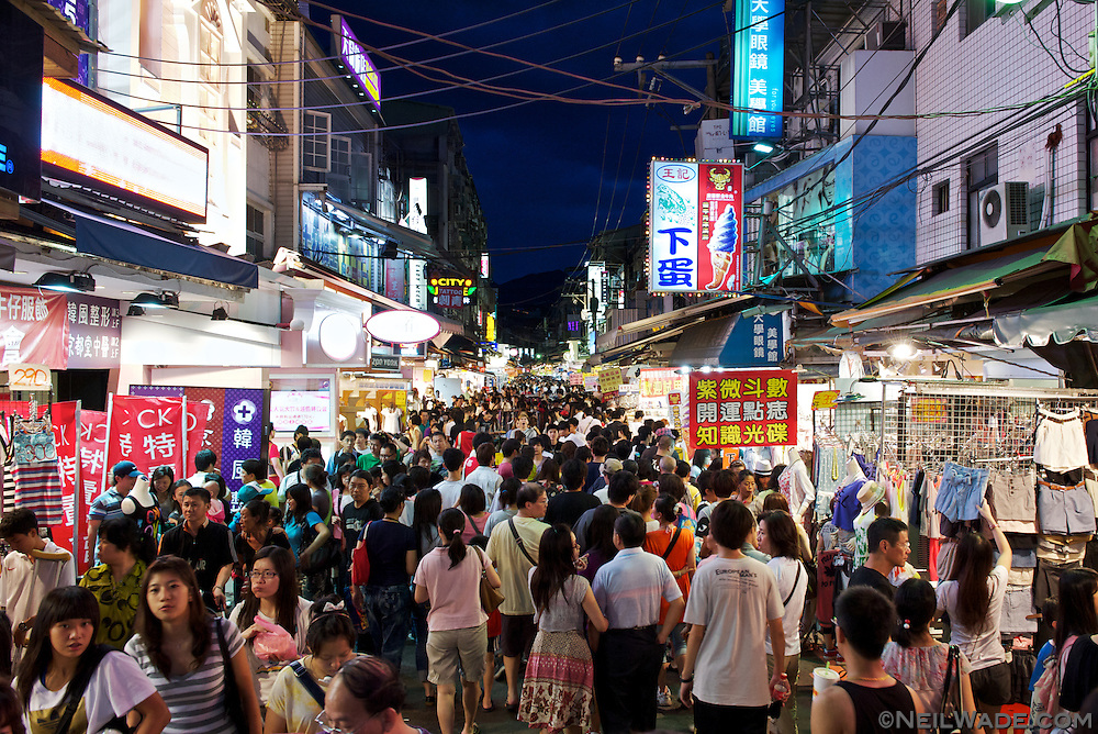 Taipei, Taiwan's Shilin Night Market gets very busy most evenings.  Taiwan's night markets are famous places to find everything from clothes to food to video games and other entertainment.  Every neighborhood in Taiwan has one, and they're the place to be on a Friday or Saturday night.