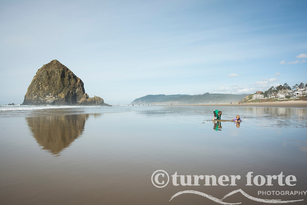 Toddler boy and girl dig in the sand on the shoreline in front of Haystack Rock, Cannon Beach, Oregon.