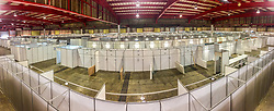 JOHANNESBURG, SOUTH AFRICA - APRIL 25: A panoramic general view of assembly at the Nasrec quarantine site currently under construction. With isolation units, consultation areas, ICU capabilitiies, medical facilities, power points, drainage and ablutions the quarantine site has a total bed capacity of 2300 on April 25, 2020 in Johannesburg South Africa. Under pressure from a global pandemic. President Ramaphosa declared a 21 day national lockdown extended by another two weeks, mobilising goverment structures accross the nation to combat the rapidly spreading COVID-19 virus - the lockdown requires businesses to close and the public to stay at home during this period, unless part of approved essential services. (Photo by Dino Lloyd)