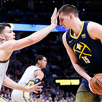 07 March 2018: Cleveland Cavaliers forward Ante Zizic (41) defends on Denver Nuggets center Nikola Jokic (15) during the Cleveland Cavaliers 113-108 victory over the Denver Nuggets, at the Pepsi Center, Denver, Colorado, USA.