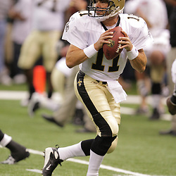 2008 August 16: New Orleans Saints quarterback Mark Brunell drops back for a pass during drills prior to the start of the Saints preseason match up against the Houston Texans at the Louisiana Superdome in New Orleans, LA. .