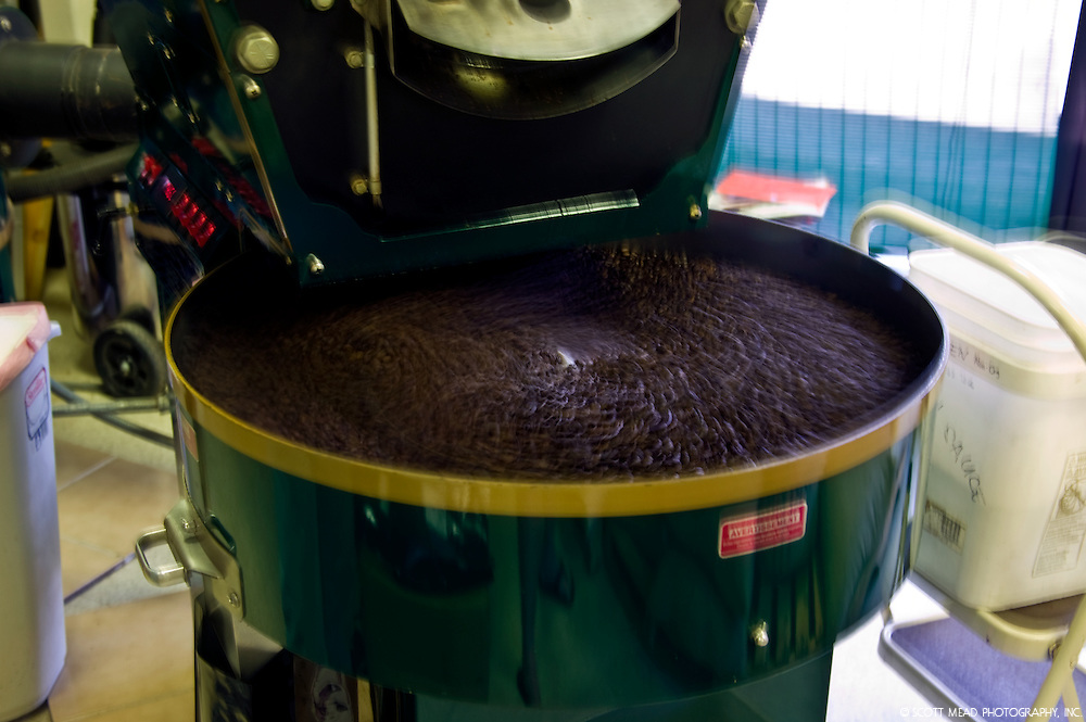 Roasting  Kona Coffee Cherry, grown on the Big Island of Hawaii in Kona