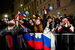 Supporters during reception of Slovenian National Handball Men team after they placed third at IHF World Handball Championship France 2017, on January 30, 2017 in Mestni trg, Ljubljana centre, Slovenia. Photo by Vid Ponikvar / Sportida