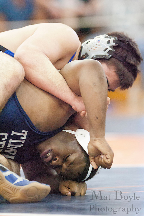 Schalor Blackshear of Timber Creek High School vs. Brian Beebe of Hammonton High School during the District 30 Wrestling semifinal match in the 220lb weight class at Overbrook High School on February 18, 2012. (photo / Mat Boyle)