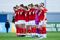 Bristol City Women line up for a minute silence in memory of Benik Afobe's daughter Amora - Mandatory by-line: Ryan Hiscott/JMP - 08/12/2019 - FOOTBALL - Stoke Gifford Stadium - Bristol, England - Bristol City Women v Birmingham City Women - Barclays FA Women's Super League
