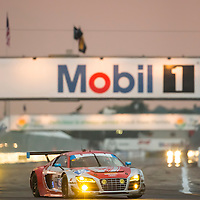 Sebring, FL - Mar 19, 2015:  The Flying Lizard Audi R8 LMS races through the turns at 12 Hours of Sebring at Sebring Raceway in Sebring, FL.