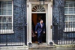 © Licensed to London News Pictures. 30/01/2020. LONDON, UK.  Mike Pompeo, US Secretary of State, departs Number 10 Downing Street after talks with Boris Johnson, Prime Minister.  On the agenda was believed to be China's Huawei providing 5G infrastructure to the UK.  Photo credit: Stephen Chung/LNP
