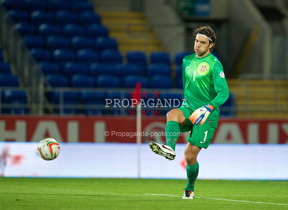 CARDIFF, WALES - Tuesday, September 10, 2013: Serbia's goalkeeper Vladimir Stojkovic in action against Wales during the 2014 FIFA World Cup Brazil Qualifying Group A match at the Cardiff CIty Stadium. (Pic by David Rawcliffe/Propaganda)