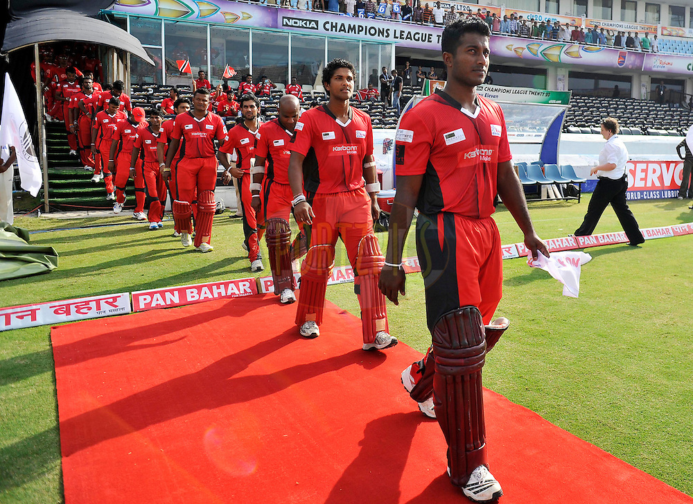 Ruhunu Eleven players line up during the Q1 match between Trinidad & Tobago and Ruhunu Eleven held at the Rajiv Gandhi International Stadium, Hyderabad on the 19th September 2011..Photo by Vipin Pawar/BCCI/SPORTZPICS