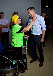 LIVERPOOL, ENGLAND - Friday, September 9, 2016: Former Liverpool player Jamie Carragher meets supporter Marie before the launch of Ring of Fire - Liverpool FC into the 21st century the players' story at Mountford Hall. (Pic by David Rawcliffe/Propaganda)