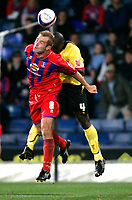 Photo: Tom Dulat.<br /> <br /> Crystal Palace v Watford. Coca Cola Championship. 29/10/2007.<br /> <br /> James Scowcroft of Crystal Palace and Dan Shittu of Watford with the ball.