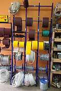 Display of wire on rolls in a Polish hardware store. Rzeczyca Central Poland
