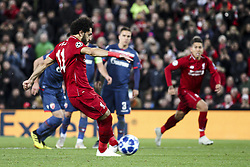 October 24, 2018 - Liverpool, United Kingdom - Liverpool forward Mohamed Salah (11) scores his goal by penalty kick during the Uefa Champions League Group Stage football match n.3  Liverpool v FK Crvena Zvezda on October 24, 2018, at the Anfield Road in Liverpool, England. (Credit Image: © Matteo Bottanelli/NurPhoto via ZUMA Press)