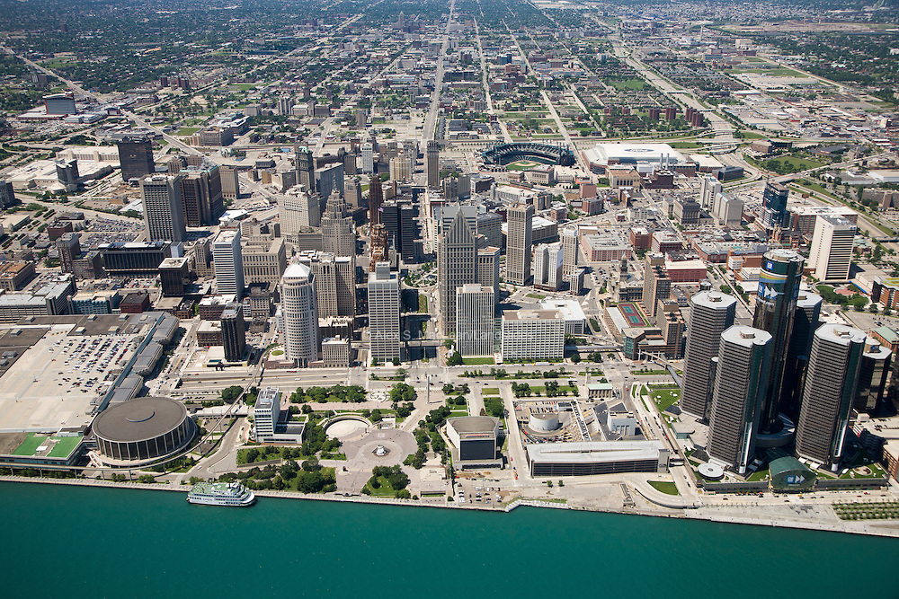 Downtown Detroit's waterfront on the Detroit River, including waterfront park, GM Renaissance Center, Cobo Center