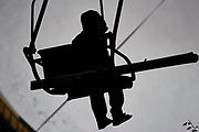 Poland, Wisla Malinka - 2017 November 18: Skijumper on ski lift during FIS Ski Jumping World Cup Wisla 2017/2018 - Day 1 at jumping hill of Adam Malysz on November 18, 2017 in Wisla Malinka, Poland.<br /> <br /> Mandatory credit:<br /> Photo by &copy; Adam Nurkiewicz<br /> <br /> Adam Nurkiewicz declares that he has no rights to the image of people at the photographs of his authorship.<br /> <br /> Picture also available in RAW (NEF) or TIFF format on special request.<br /> <br /> Any editorial, commercial or promotional use requires written permission from the author of image.