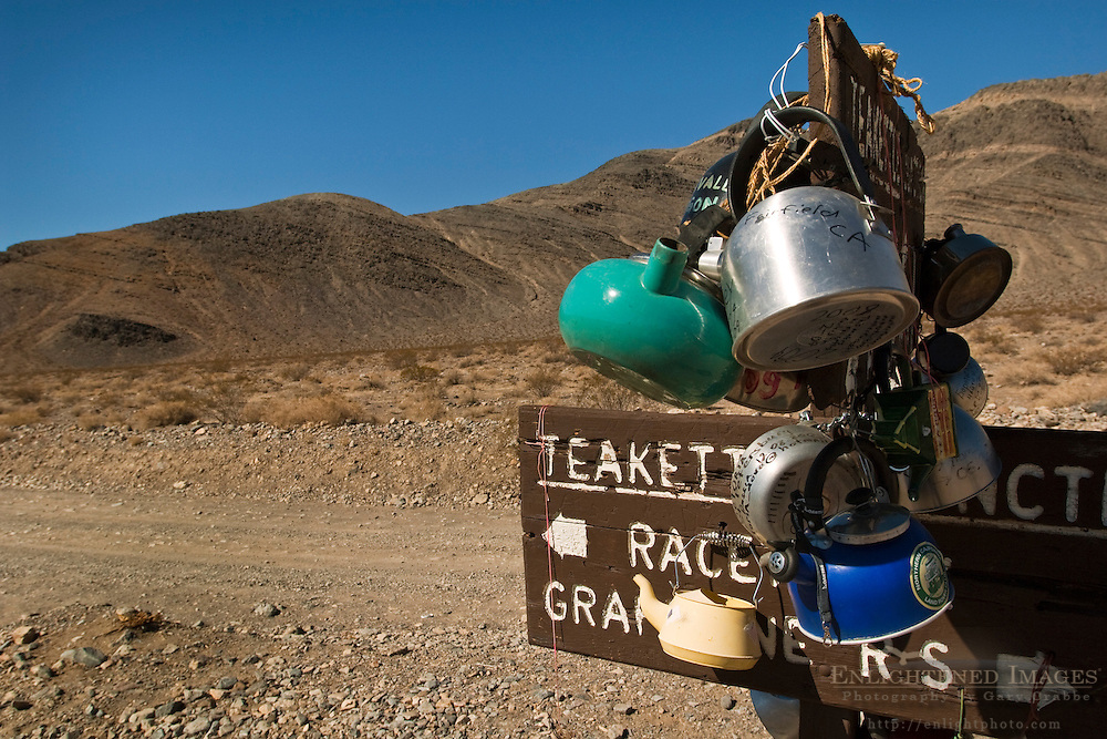 Teakettle Junction sign, on dirt road enroute to the Racetrack, Death Valley National Park, California