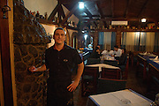 Waiter (name TK) at Savski Express restaurant.<br /> <br /> Savamala neighborhood of Belgrade, Serbia.