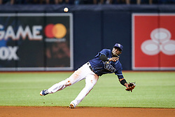 July 8, 2017 - St. Petersburg, Florida, U.S. - WILL VRAGOVIC   |   Times.Tampa Bay Rays shortstop Adeiny Hechavarria (11) makes the throw to first baseman Logan Morrison (7) on the liner by Boston Red Sox catcher Sandy Leon (3) to end the top of the fifth inning of the game between the Boston Red Sox and the Tampa Bay Rays at Tropicana Field in St. Petersburg, Fla. on Saturday, July 8, 2017. (Credit Image: © Will Vragovic/Tampa Bay Times via ZUMA Wire)