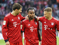 09.03.2019, Allianz Arena, Muenchen, GER, 1. FBL, FC Bayern Muenchen vs VfL Wolfsburg, 25. Runde, im Bild Jubel beim FC Bayern München nach dem 6:0, gegen den VFL Wolfsburg, Goretzka Sanches und Kimmich // during the German Bundesliga 25th round match between FC Bayern Muenchen and VfL Wolfsburg at the Allianz Arena in Muenchen, Germany on 2019/03/09. EXPA Pictures © 2019, PhotoCredit: EXPA/ SM<br /> <br /> *****ATTENTION - OUT of GER*****