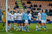 Tottenham Hotspur Women defend a Manchester City Women corner during the FA Women's Super League match between Tottenham Hotspur Women and Manchester City Women at the Hive, Barnet, United Kingdom on 5 January 2020.