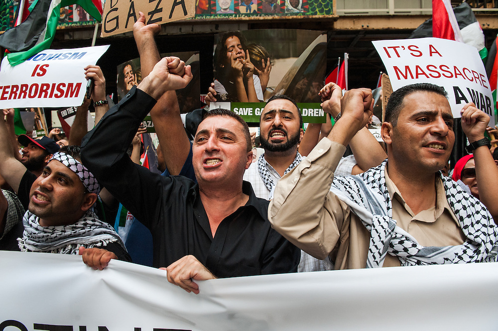 Thousands march down Randolph Street in Chicago on July 26, 2014 in support of a free Palestine.