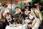 Luncheon of the Boating Party', 1881.  Oil on canvas. Pierre-Auguste Renoir (1841-1919) French painter.  Party eating and drinking under awning in the open air by a riverside. Male Female Food Wine Relaxed Informal