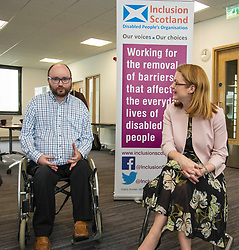 Pictured:  Shirley-Anne Somerville<br /> <br /> Cabinet Secretary for Social Security and Older People, Shirley-Anne Somerville visited Inclusion Scotland. The Cabinet Secretary met staff, including Iain Smith, Policy and Public Affairs Officer and Pauline Nolan, Policy and Localisation manager, and disabled people ahead of a Parliamentary Statement she is scheduled to make on Dignity and Respect in Scotland's Social Security System. <br /> <br /> Inclusion Scotland is run by disabled people ourselves. This is important because disabled people know best about the barriers that prevent our full inclusion into Scottish society. We experience them every day. But we cannot remove them by ourselves. We need allies and supporters. We need those in power to hear disabled people&rsquo;s voices and work with us to remove these barriers.