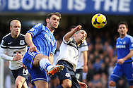 Branislav Ivanovic of Chelsea (2nd left) challenges Leon Osman of Everton during the Barclays Premier League match at Stamford Bridge, London<br /> Picture by David Horn/Focus Images Ltd +44 7545 970036<br /> 22/02/2014