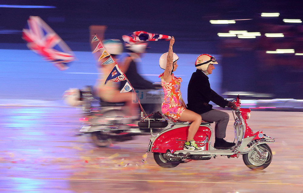 Scooters ride around during Closing Ceremonies during day 16 of the London Olympic Games in London, England, United Kingdom on August 12, 2012..(Jed Jacobsohn/for The New York Times)..
