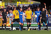 AFC Wimbledon attacker Marcus Forss (15) red card, sent off after second yellow during the EFL Sky Bet League 1 match between AFC Wimbledon and Bristol Rovers at the Cherry Red Records Stadium, Kingston, England on 21 September 2019.