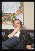 """Salman Rushdie at home in 1989 3 days before he disappeared following the fatwa which was launched against him following the publication of his book """"The Satanic Verses""""."""