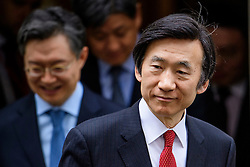 © Licensed to London News Pictures. 22/02/2017. London, UK. South Korean Minister of Foreign Affairs, Yun Byung-se (right), leaves 11 Downing Street in Westminster, London, following a meeting with British chancellor Philip Hammond.. Photo credit: Ben Cawthra/LNP