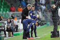 Laurent BLANC  / Ezequiel LAVEZZI / Yohan CABAYE - 25.01.2015 - Saint Etienne / PSG  - 22eme journee de Ligue1<br />Photo : Jean Paul Thomas / Icon Sport