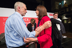© Licensed to London News Pictures . 25/07/2015 . Warrington , UK . JEREMY CORBYN , YVETTE COOPER , LIZ KENDALL and ANDY BURNHAM after the Labour Party leadership hustings at Parr Hall in Warrington . Photo credit : Joel Goodman/LNP