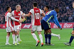 27-10-2019 NED: Ajax - Feyenoord, Amsterdam<br /> Eredivisie Round 11, Ajax win 4-0 / Donny van de Beek #6 of Ajax scores 4-0, Sergino Dest #28 of Ajax, David Neres #7 of Ajax