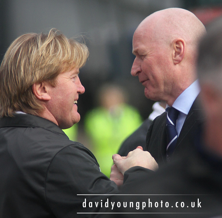 Motherwell boss Stuart McCall and interim Dundee manager John Brown, who were team-mates at Rangers greet each other before Dundee v Motherwell in the Clydesdale Bank Scottish Premier League at Dens Park.. - © David Young - www.davidyoungphoto.co.uk - email: davidyoungphoto@gmail.com