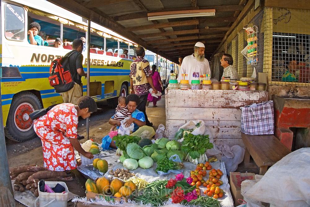 A fresh food and produce market in Vanua Levu, Fiji.
