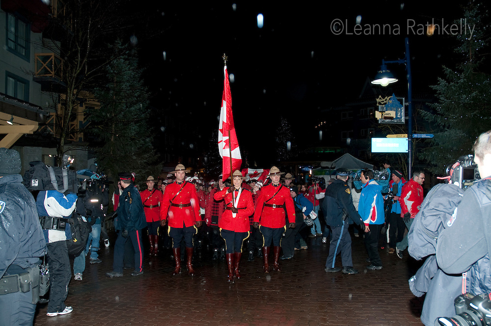 Athletes from Team Canada for the 2010 Olympic Winter Games parade through Whistler Village as part of the opening ceremonies.