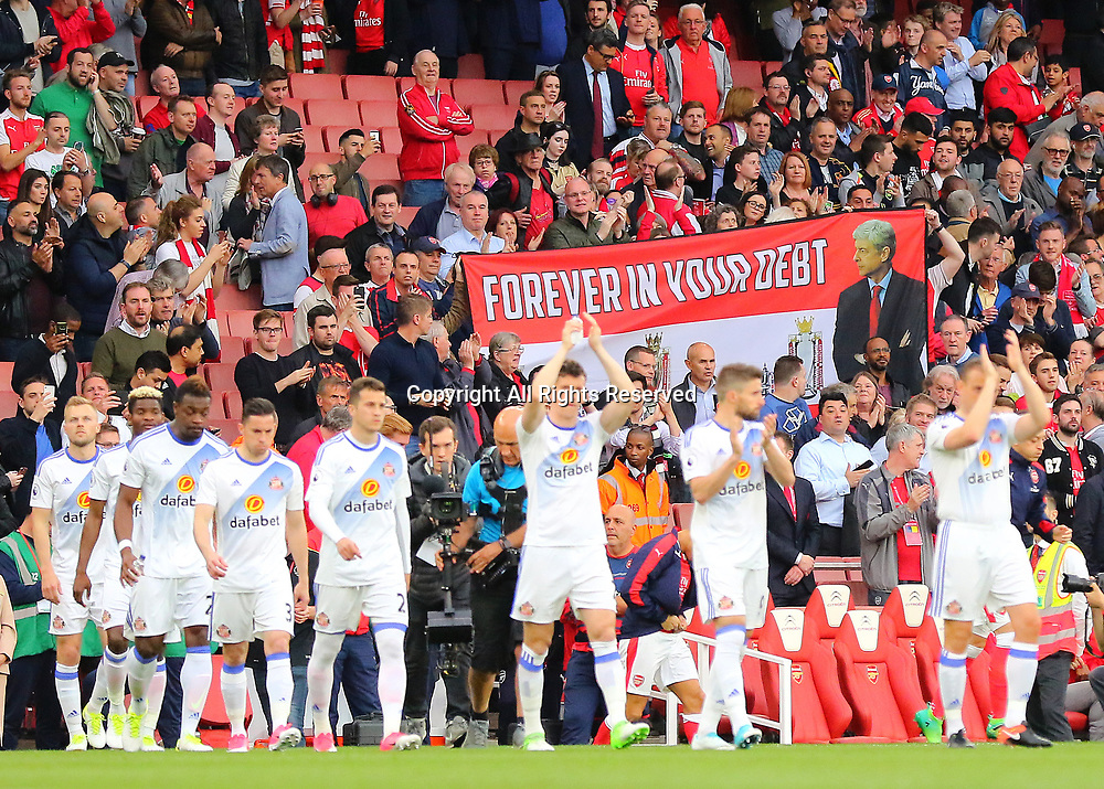May 16th 2017, Emirates Stadium, Highbury, London, England;  EPL Premier League football, Arsenal FC versus Sunderland; An Arsene Wenger banner is held up as players make their way onto the pitch