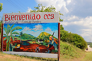Farm sign in Arcos de Canasi, Mayabeque, Cuba.