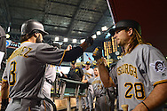 Apr 23, 2016; Phoenix, AZ, USA; Pittsburgh Pirates infielder Sean Rodriguez (3) is congratulated by John Jaso (28) after hitting a solo home run in the second inning against the Arizona Diamondbacks at Chase Field. Mandatory Credit: Jennifer Stewart-USA TODAY Sports