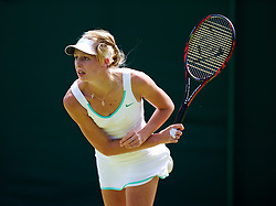 LONDON, ENGLAND - Thursday, June 28, 2012: Naomi Broady (GBR) during Ladies' Doubles 1st Round match on day four of the Wimbledon Lawn Tennis Championships at the All England Lawn Tennis and Croquet Club. (Pic by David Rawcliffe/Propaganda)