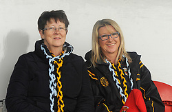 Wearing the Colours…  Pauline and Maria OMalley from Clare Island supporting Louisburgh and Westport in Ennis on sunday last.<br />