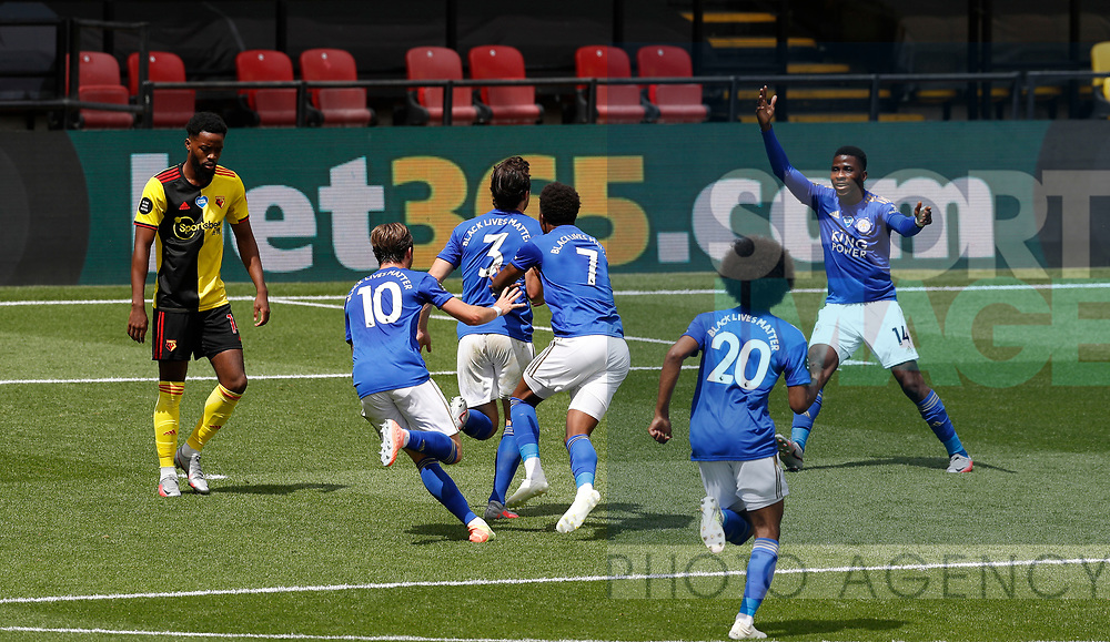 Ben Chillwell of Leicester City turns to celebrate scoring the first goal during the Premier League match at Vicarage Road, Watford. Picture date: 20th June 2020. Picture credit should read: Darren Staples/Sportimage