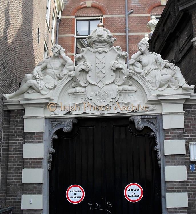 Typical canal street scene in Amsterdam, Holland. Mariujana museum